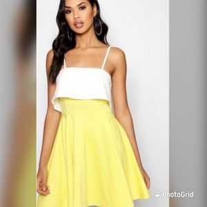 Boohoo Two toned dress in white and yellow